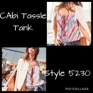 NWOT CAbi Tassle Tank Top, XL #5230 Red/White/Blue